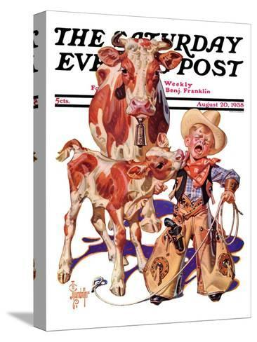 """Little Cowboy Takes a Licking,"" Saturday Evening Post Cover, August 20, 1938-Joseph Christian Leyendecker-Stretched Canvas Print"