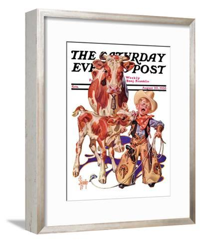 """Little Cowboy Takes a Licking,"" Saturday Evening Post Cover, August 20, 1938-Joseph Christian Leyendecker-Framed Art Print"