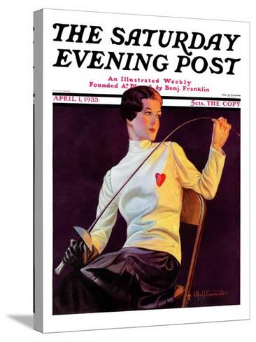 """Female Fencer,"" Saturday Evening Post Cover, April 1, 1933-Alfred F. Cammarata-Stretched Canvas Print"