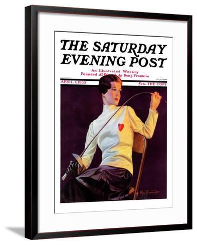 """Female Fencer,"" Saturday Evening Post Cover, April 1, 1933-Alfred F. Cammarata-Framed Art Print"