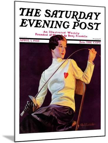 """""""Female Fencer,"""" Saturday Evening Post Cover, April 1, 1933-Alfred F. Cammarata-Mounted Giclee Print"""