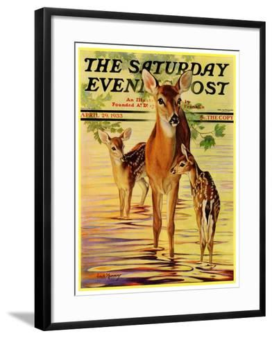 """Doe and Fawns,"" Saturday Evening Post Cover, April 29, 1933-Jack Murray-Framed Art Print"