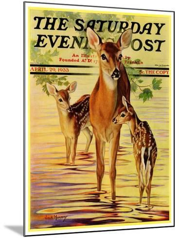 """Doe and Fawns,"" Saturday Evening Post Cover, April 29, 1933-Jack Murray-Mounted Giclee Print"