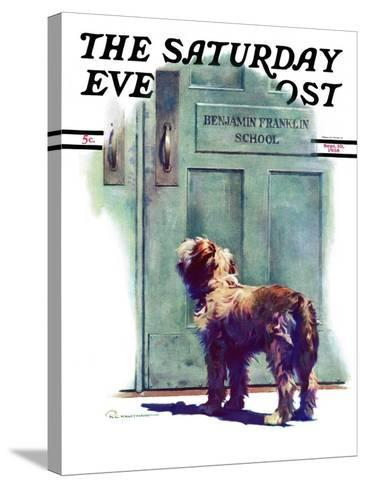 """""""Dog Waiting for Schoolboy,"""" Saturday Evening Post Cover, September 10, 1938-Robert C^ Kauffmann-Stretched Canvas Print"""