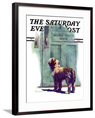 """Dog Waiting for Schoolboy,"" Saturday Evening Post Cover, September 10, 1938-Robert C^ Kauffmann-Framed Art Print"