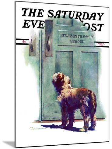"""""""Dog Waiting for Schoolboy,"""" Saturday Evening Post Cover, September 10, 1938-Robert C^ Kauffmann-Mounted Giclee Print"""