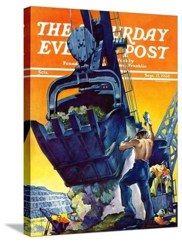 """""""Steam Shovel,"""" Saturday Evening Post Cover, September 17, 1938-Ski Weld-Stretched Canvas Print"""