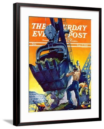 """""""Steam Shovel,"""" Saturday Evening Post Cover, September 17, 1938-Ski Weld-Framed Art Print"""