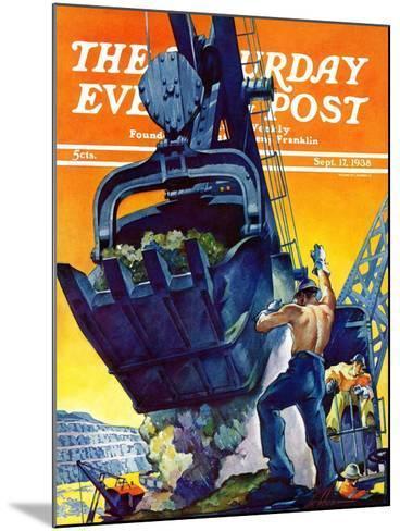 """Steam Shovel,"" Saturday Evening Post Cover, September 17, 1938-Ski Weld-Mounted Giclee Print"