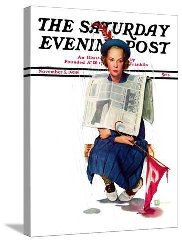 """""""Rainy Football Game,"""" Saturday Evening Post Cover, November 5, 1938-Douglas Crockwell-Stretched Canvas Print"""