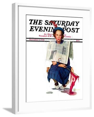 """Rainy Football Game,"" Saturday Evening Post Cover, November 5, 1938-Douglas Crockwell-Framed Art Print"