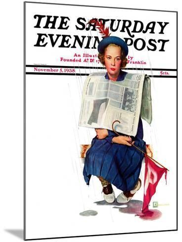 """Rainy Football Game,"" Saturday Evening Post Cover, November 5, 1938-Douglas Crockwell-Mounted Giclee Print"