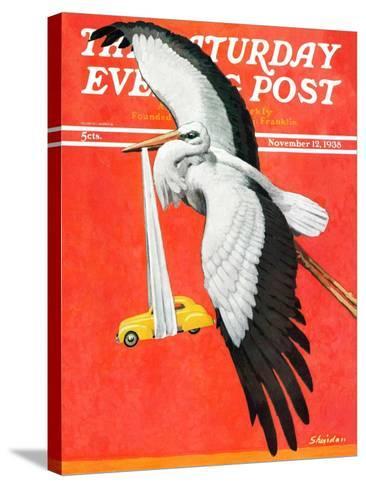 """New Born Automobile,"" Saturday Evening Post Cover, November 12, 1938-John E^ Sheridan-Stretched Canvas Print"