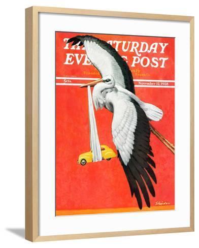 """New Born Automobile,"" Saturday Evening Post Cover, November 12, 1938-John E^ Sheridan-Framed Art Print"