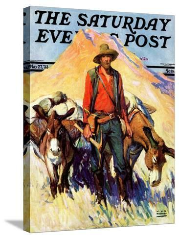 """""""Miner and Donkeys,"""" Saturday Evening Post Cover, May 27, 1933-William Henry Dethlef Koerner-Stretched Canvas Print"""