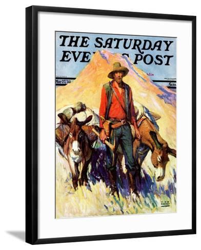 """Miner and Donkeys,"" Saturday Evening Post Cover, May 27, 1933-William Henry Dethlef Koerner-Framed Art Print"