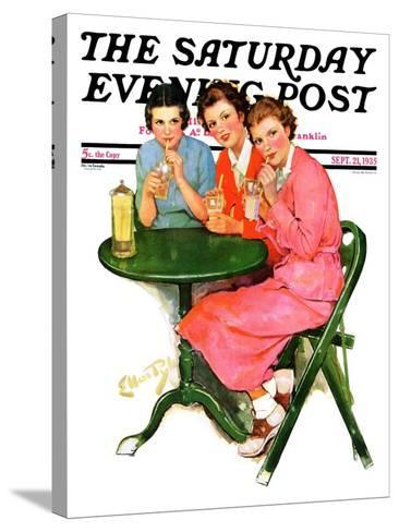 """""""Girls Sipping Sodas,"""" Saturday Evening Post Cover, September 21, 1935-Ellen Pyle-Stretched Canvas Print"""