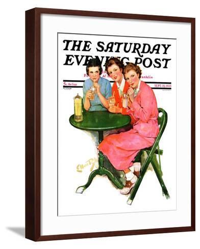 """Girls Sipping Sodas,"" Saturday Evening Post Cover, September 21, 1935-Ellen Pyle-Framed Art Print"