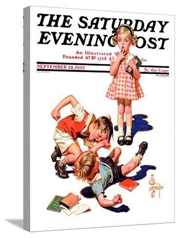 """""""She's My Girl!,"""" Saturday Evening Post Cover, September 28, 1935-Joseph Christian Leyendecker-Stretched Canvas Print"""