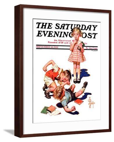 """""""She's My Girl!,"""" Saturday Evening Post Cover, September 28, 1935-Joseph Christian Leyendecker-Framed Art Print"""