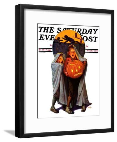 """""""Halloween Scare,"""" Saturday Evening Post Cover, November 2, 1935-Frederic Stanley-Framed Art Print"""
