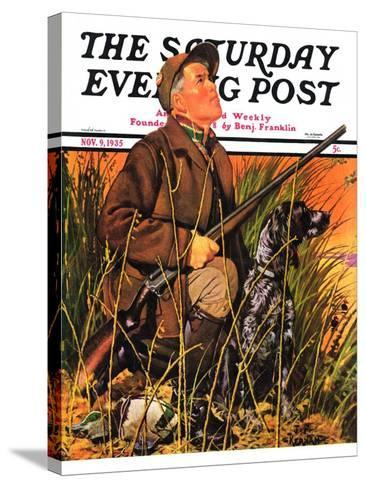 """Hunter and Dog in Field,"" Saturday Evening Post Cover, November 9, 1935-J^F^ Kernan-Stretched Canvas Print"