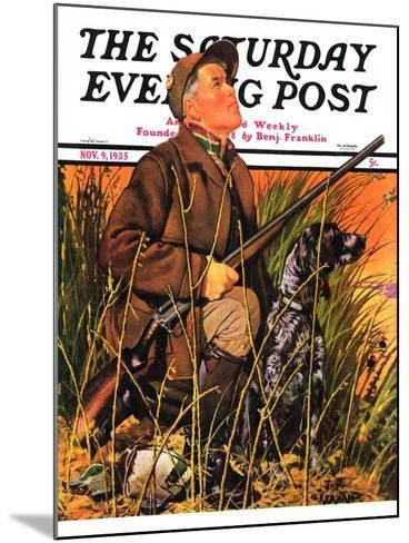 """Hunter and Dog in Field,"" Saturday Evening Post Cover, November 9, 1935-J^F^ Kernan-Mounted Giclee Print"