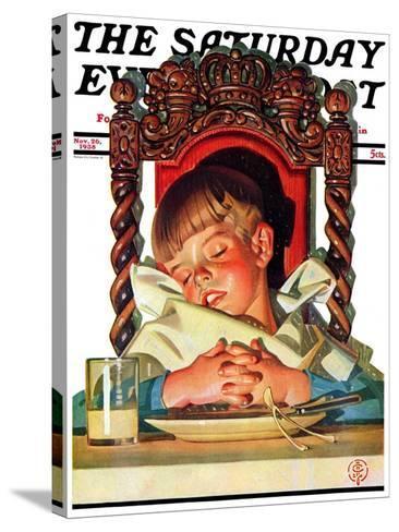 """After Turkey Nap,"" Saturday Evening Post Cover, November 26, 1938-Joseph Christian Leyendecker-Stretched Canvas Print"