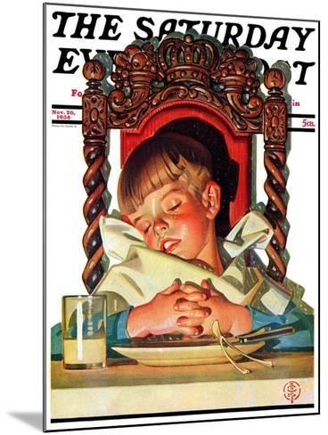 """After Turkey Nap,"" Saturday Evening Post Cover, November 26, 1938-Joseph Christian Leyendecker-Mounted Giclee Print"