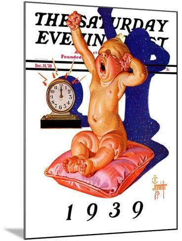 """Waking to the New Year,"" Saturday Evening Post Cover, December 31, 1938-Joseph Christian Leyendecker-Mounted Giclee Print"