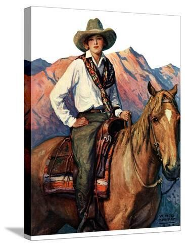 """""""Woman on Horse in Mountains,""""October 6, 1928-William Henry Dethlef Koerner-Stretched Canvas Print"""