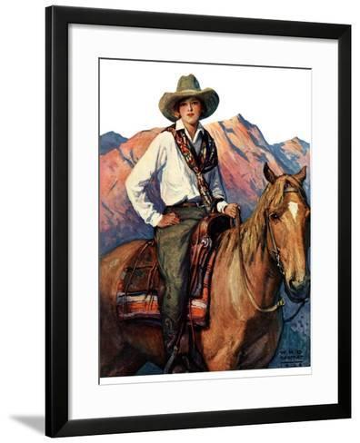 """Woman on Horse in Mountains,""October 6, 1928-William Henry Dethlef Koerner-Framed Art Print"