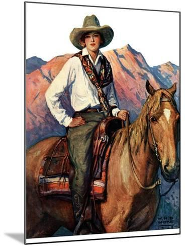 """""""Woman on Horse in Mountains,""""October 6, 1928-William Henry Dethlef Koerner-Mounted Giclee Print"""