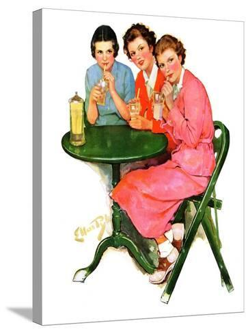 """Girls Sipping Sodas,""September 21, 1935-Ellen Pyle-Stretched Canvas Print"