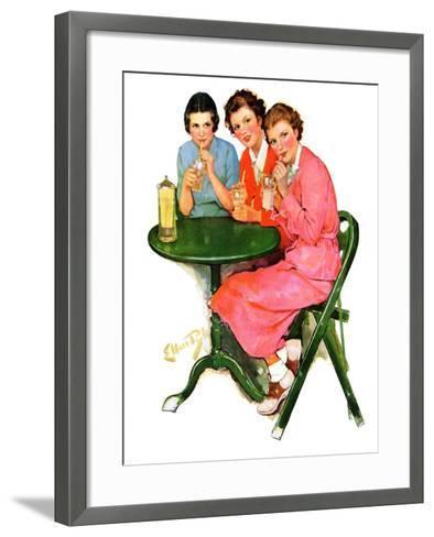 """Girls Sipping Sodas,""September 21, 1935-Ellen Pyle-Framed Art Print"