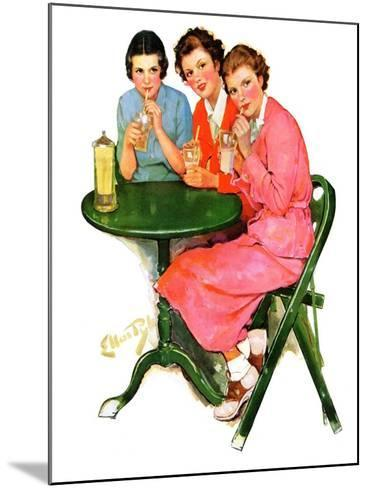 """Girls Sipping Sodas,""September 21, 1935-Ellen Pyle-Mounted Giclee Print"