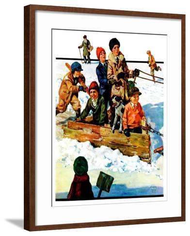 """""""Homemade Sleigh,""""January 19, 1929-Eugene Iverd-Framed Art Print"""