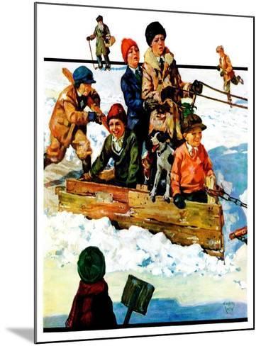 """""""Homemade Sleigh,""""January 19, 1929-Eugene Iverd-Mounted Giclee Print"""