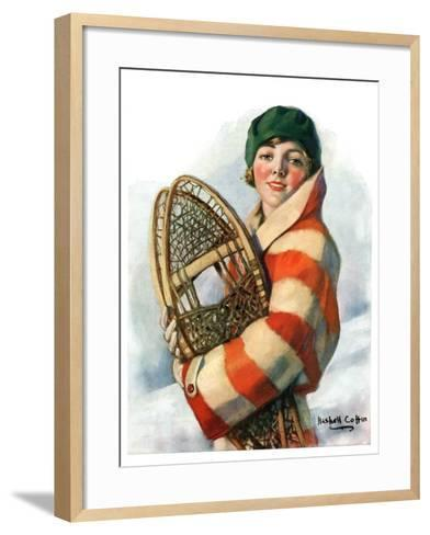 """""""Woman and Snowshoes,""""January 26, 1929-William Haskell Coffin-Framed Art Print"""