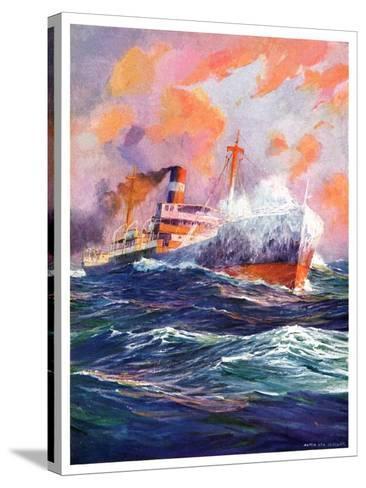 """Wave Breaks over Steamer,""March 21, 1936-Anton Otto Fischer-Stretched Canvas Print"