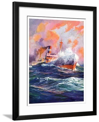 """""""Wave Breaks over Steamer,""""March 21, 1936-Anton Otto Fischer-Framed Art Print"""