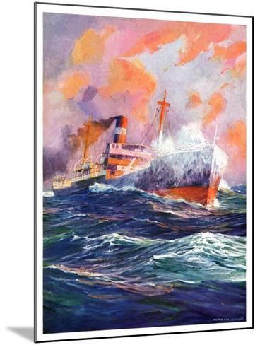 """Wave Breaks over Steamer,""March 21, 1936-Anton Otto Fischer-Mounted Giclee Print"