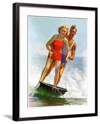 """Ski Boarding Couple,""June 27, 1936-Robert C^ Kauffmann-Framed Art Print"