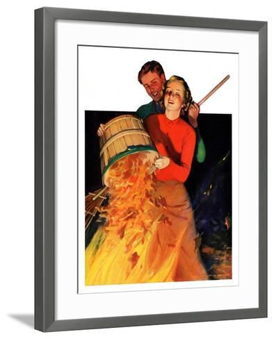 """""""Bonfire,""""December 12, 1936-John Newton Howitt-Framed Art Print"""