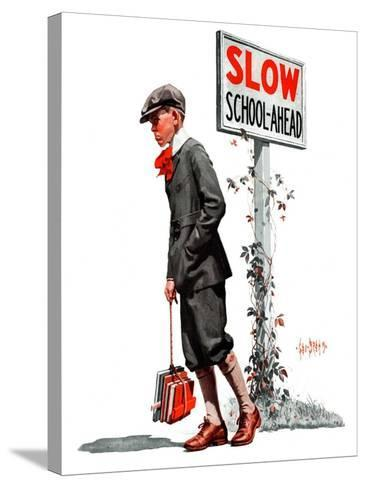 """""""Slow, School Ahead,""""September 5, 1925-George Brehm-Stretched Canvas Print"""