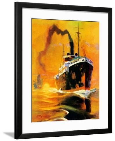 """""""Freighter,""""December 14, 1935-Edgar Franklin Wittmack-Framed Art Print"""