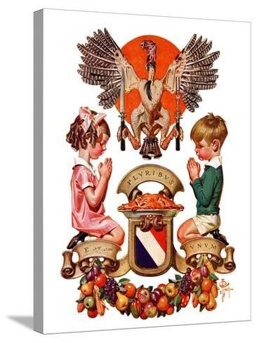 """Thanksgiving Crest,""November 26, 1932-Joseph Christian Leyendecker-Stretched Canvas Print"