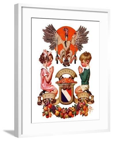 """""""Thanksgiving Crest,""""November 26, 1932-Joseph Christian Leyendecker-Framed Art Print"""