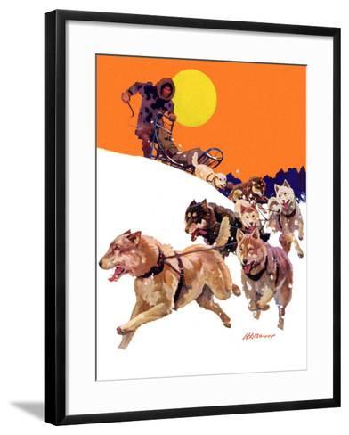 """Eskimo and Dog Sled,""February 29, 1936-Maurice Bower-Framed Art Print"