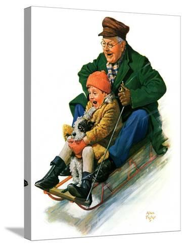 """""""Sledding with Grandpa,""""February 8, 1930-Alan Foster-Stretched Canvas Print"""
